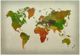 World Map Watercolor (Warm) Poster