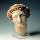 Female Head in Polychrome Terracotta, 4th Century Photographic Print by Unknown Artist