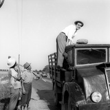 Enzo Tortora Standing on a Truck Observed by Two Farmers Photographic Print