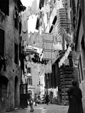 A Trastevere Alley with Hanged Laundry Photographic Print