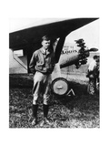 Charles Lindbergh in Front of His Airplane Photographic Print