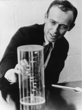 James Watson Watching a DNA Model Photographic Print