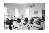 Lyndon Johnson with Editors Photographic Print