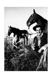 Argentinian Labourers with Their Horses Having a Break Photographic Print