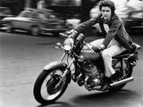 Gianni Nazzaro Riding a Kawasaki Motorbike Photographic Print