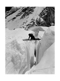 Alpinist Going Beyond a Cliff Photographic Print
