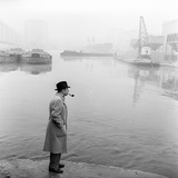 Georges Simenon Smoking a Pipe by the Navigli in Milan Photographic Print