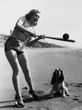 Marilyn Monroe Playing Softball Papier Photo