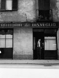 Giorgio Gaber at the Entrance of the Eating House Trattoria Del Risveglio Photographic Print