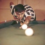Adriano Celentano Playing Billiards Photographic Print