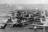 Us Navy Aircraft Carrier before the Attack Agaist Japan Photographic Print