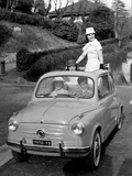 Models on Board Fiat 600 Photographic Print