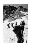 Climbers Walking on a Mountain Photographic Print