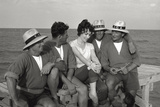 Gina Lollobrigida on the Seashore with Lifeguards Photographic Print