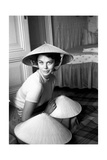 Giorgia Moll Wearing a Traditional Asian Hat Photographic Print