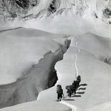 Alpinists Walking on the Glaciers Photographic Print