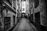 A Narrow Cobblestone Street in Stockholm's Old Town, Gamla Stan Fotografisk tryk af Jonathan Irish
