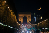 The Setting Crescent Moon at the Arc De Triomphe and Champs-Elysees Avenue Photographic Print by Babak Tafreshi
