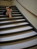 A Ballerina Resting in a Stairwell Fotografisk trykk av Kike Calvo