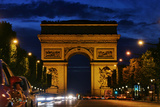 The Arc De Triomphe, and Champs-Elysees Avenue with Traffic at Night Photographic Print by Babak Tafreshi