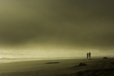 A Couple Walking on Third Beach in Fog on the Olympic Peninsula Photographic Print by Jonathan Irish