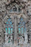 Ornate Sculpture and Stained Glass Windows at Gaudi's La Sagrada Familia Cathedral Fotografisk tryk af Joe Petersburger