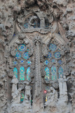 Ornate Sculpture and Stained Glass Windows at Gaudi's La Sagrada Familia Cathedral Photographic Print by Joe Petersburger
