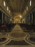 Basilica of Saint Maria Maggiore During Religious Service, View Down Nave to Altar Prints