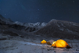 Stars Sparkle in the Sky Above Yellow Tents in Juphal Valley, Dolpa Region of Nepal Photographic Print by Alex Treadway