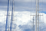The Masts and Rigging of Yachts at Anchor in a Marina Photographic Print by Jason Edwards
