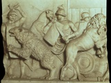 Ancient Roman Hunting Scene of Armed Men Against Lions Print