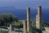 Ruins from Greek Colonists in Sicily, 4th-1st Century BC, Island of Vulcano in the Background Photo