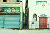 Fish Market and Baptist Church in Harlem, New York City Photographic Print by Sabine Jacobs