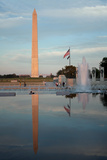 The Washington Monument Reflecting Off the Pool of the National World War Ii Memorial Photographic Print by Vickie Lewis