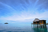 An Exclusive Resort Bungalow over a Calm Tropical Sea Photographic Print by Jason Edwards