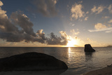 The Indian Ocean Off the Coast of the Anse Source D'Argent Beach, at Sunset Photographic Print by Sergio Pitamitz