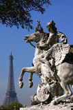 An Equestrian Statue with the Eiffel Tower in the Distance Photographic Print by Babak Tafreshi