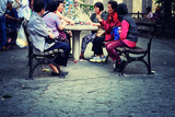 A Group of Asian Women Playing Cards in a Park in Chinatown, New Photographic Print by Sabine Jacobs