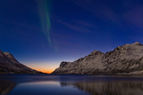 Comet Panstarrs and the Aurora Borealis Appear at Twilight over a Fjord in the Norwegian Sea Photographic Print by Babak Tafreshi