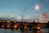 Fireworks over the Charles Bridge, a Historic Bridge over the Vltava River Photographic Print by Joe Petersburger