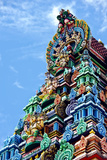 Brightly Colored Ornate Statues and Pillars at a Hindu Temple Photographic Print by Jason Edwards