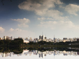 Sao Paulo Cityscape Reflected in the Lake at Ibirapuera Park Photographic Print by Alex Saberi