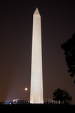 The Washington Monument at Night with the Rising Moon Photographic Print by Vickie Lewis