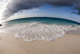 A Fisheye Lens View of Indian Ocean Surf Surging onto a Sandy Tropical Beach Photographic Print by Sergio Pitamitz