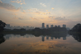 Sao Paulo Cityscape Reflected in the Lake at Ibirapuera Park at Sunrise Photographic Print by Alex Saberi