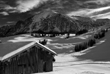 Monochrome Image of an Alpine Mountain Cabin in a Winter Landsca Fotografisk trykk av Sabine Jacobs