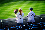 Two Young Baseball Fans Waiting for the Start of the Game, Yanke Photographic Print by Sabine Jacobs