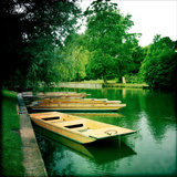 Punts Moored by River Bank, Cambridge, Cambridgeshire, Uk Photographic Print by Craig Roberts