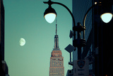 Moonrise and Empire State Building, Manhattan, New York City Photographic Print by Sabine Jacobs