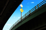 Merge Traffic Sign on Highway Bridge from Low Angle, Bronx, New Photographic Print by Sabine Jacobs